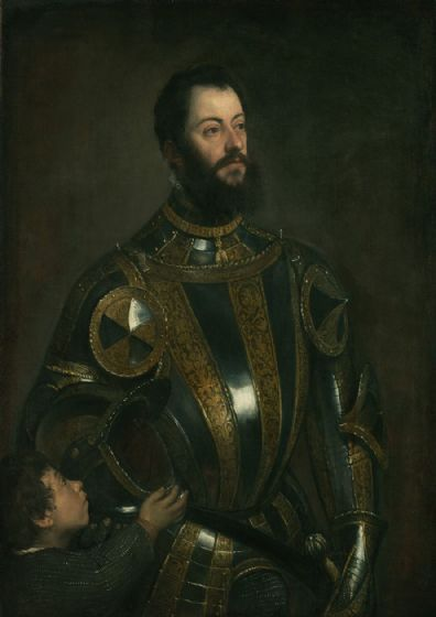 Titian (Tiziano Vecellio): Portrait of Alfonso d'Avalos, Marquis of Vasto, in Armor with a Page. Fine Art Print/Poster. Sizes: A4/A3/A2/A1 (001953)